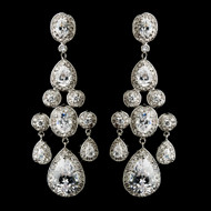 """Miss Universe"" Silver Plated CZ Chandelier Earrings"