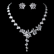 Dazzling Floral CZ Wedding Jewelry Set