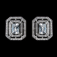 Vintage Look Princess Cut CZ Wedding Earrings