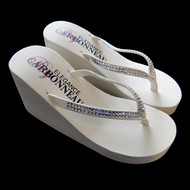 White High Wedge Bridal Flip Flops with Crystals