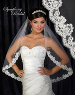 Eyelash Lace Wedding Veil 6300VL by Symphony Bridal