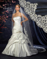 Cathedral Length Lace Edge Wedding Veil Symphony Bridal 6343VL