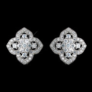 Antique Rhodium Silver CZ Stud Vintage Look Earrings