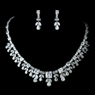 Antique Rhodium Silver CZ Wedding Jewelry Set