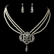Ivory Pearl and Crystal Vintage Look Bridal Jewelry Set