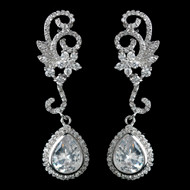 CZ Floral Swirl Wedding Earrings