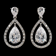 Antique Silver CZ Drop Wedding Earrings
