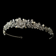Antique Silver Plated Rose Tiara with Freshwater Pearls
