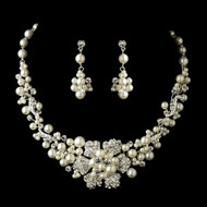 Ivory Pearl and Rhinestone Flower Wedding Jewelry Set