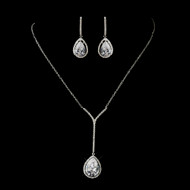 CZ Crystal Drop Necklace and Earring Wedding Jewelry Set