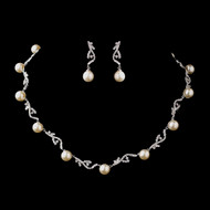 Diamond White Pearl and CZ Crystal Wedding Jewelry Set