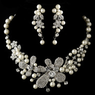 Pearl and Rhinestone Wedding Statement Necklace and Earring Set