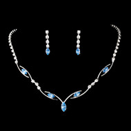 5 Sets Boxed Lovely Blue Rhinestone Bridesmaid Jewelry