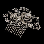 Double Rose Crystal Wedding Comb in Antique Silver
