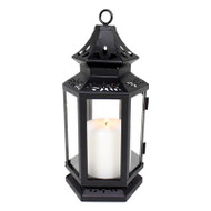 12 Medium Black Stagecoach Lanterns for Centerpieces