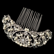 Freshwater Pearl and Rhinestone Vintage Look Wedding Comb