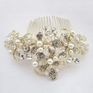 Gold Plated Ivory Pearl Floral Wedding Hair Comb