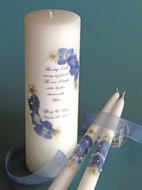 Dark Blue Floral This Day Wedding Unity Candle Set