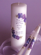 Medium Purple Floral This Day Wedding Unity Candle Set