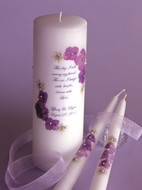 Plum Purple Floral This Day Wedding Unity Candle