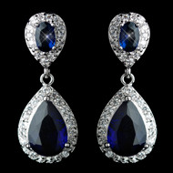 Sapphire Blue Tear Drop CZ Crystal Wedding Earrings