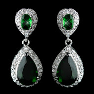 Emerald Green Tear Drop CZ Crystal Wedding Earrings