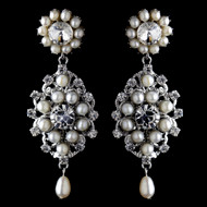 Elegant Rhinestone and Freshwater Pearl Drop Wedding Earrings