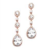 Rose Gold Pear CZ Drop Wedding or Prom Earrings