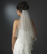 Two Layer Elbow Length Wedding Veil with Beaded Pearl Edge