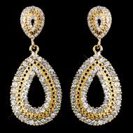 Gold Rhinestone Wedding or Prom Earrings