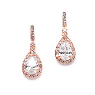 Rose Gold Cubic Zirconia Drop Bridal Earrings