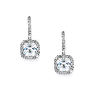Radiant Cut Cubic Zirconia Wedding and Prom Earrings