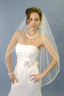 Beautifully Beaded Fingertip Length Wedding Veil Ansonia 264