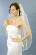 Embroidered Edge Fingertip Length Wedding Veil with Rhinestones