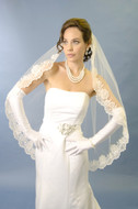 Lace Edge Fingertip Length Wedding Veil with Rhinestones
