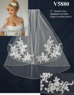 Angel Cut Elbow Length Wedding Veil V5880 with Lace Appliques