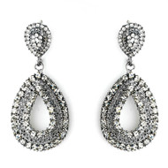 Antique Silver Smoked Black Rhinestone Drop Wedding Earrings