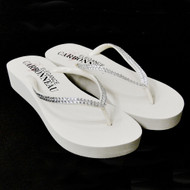 White Low Heel Wedge Bridal Flip Flops with Crystal Straps