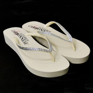 Ivory Low Heel Wedge Bridal Flip Flops with Crystal Straps