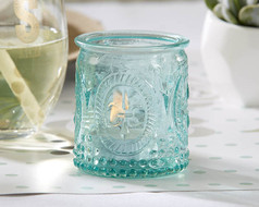 96 Vintage Look Aqua Blue Embossed Glass Tea Light Holders