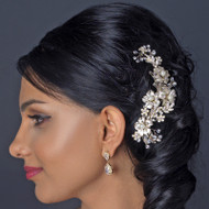 Gold Plated Floral Wedding Comb with Ivory Pearls