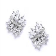 Marquis CZ Cluster Wedding Stud Earrings