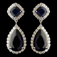 Sapphire Blue and Clear CZ Wedding Earrings