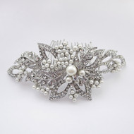 Diamond White Pearl and Rhinestone Wedding Hair Comb