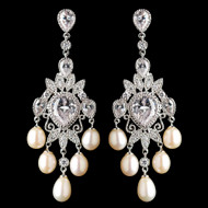 Elegant CZ and Freshwater Pearl Chandelier Wedding Earrings