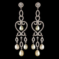 CZ and Freshwater Pearl Chandelier Bridal Earrings