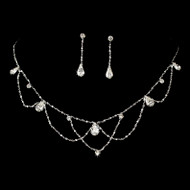 Silver Plated Teardrop Crystal Wedding Jewelry Set ne8000