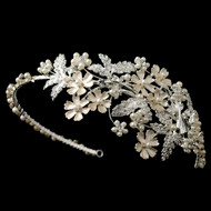 Light Silver Floral Rhinestone and Ivory Pearl Wedding Headband