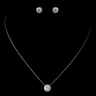 5 Sets Petite CZ Pave Halo Pendant and Earring Bridesmaid Jewelry