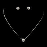 5 Sets Round CZ Crystal Pendant and Earring Bridesmaid Jewelry